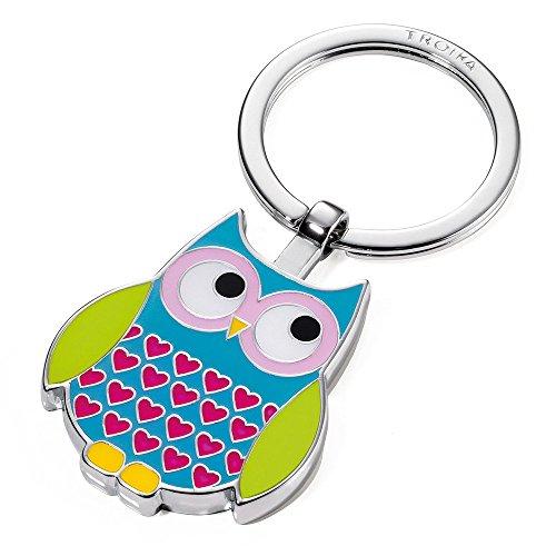 """TROIKA Schlüsselanhänger ROSY - KR14-13/BL - glänzend verchromt - Schlüsselanhänger """"Eule"""" - das Original von TROIKA"""