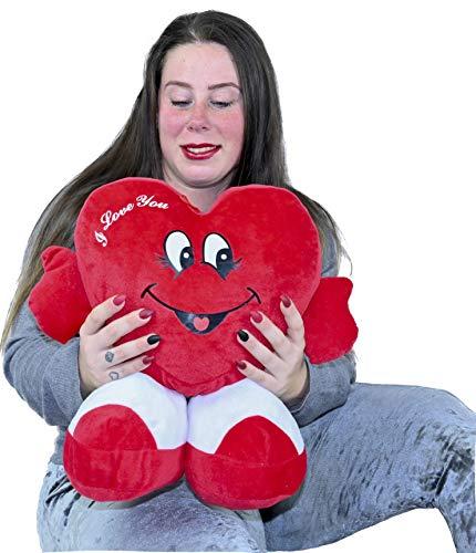 ML Peluche Corazon Dia de los Enamorados Toys Corazón de Peluche con pies. Regalo para el Dia de los Enamorados te Quiero. de Altura 35 cms. Tiene un Mensaje de I Love You