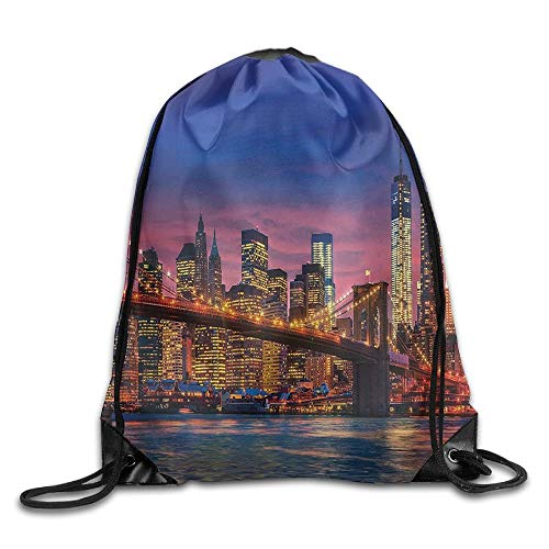 FULIYA New York NYC That Never Sleeps Image Neon Lights Reflections on East River City Image Drawstring Bags Jogging Backpack for Teens College Drawstring Shoulder Bag Backpack String Bags
