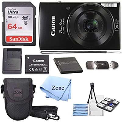 Canon PowerShot ELPH 190 Digital Camera w/10x Optical Zoom and Image Stabilization - Wi-Fi & NFC Enabled + 64GB SD Card+ Case+ NB-11L Extra Battery Bundle Kit by Accessory Zone