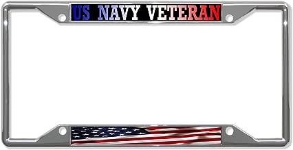 Fastasticdeals Us Navy Veteran American Flag License Plate Frame Tag Holder Cover