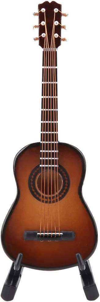 Modelo de Guitarra En Miniatura Pantalla de Instrumentos Musicales de Madera con Soporte y Estuche Accesorios de Casa de Muñecas Adornos Artesanales Pequeños decoración para El Hogar(#03)