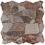 SomerTile Brown/Gray/Green FAZ18ATG Roccia Ceramic Floor and Wall Tile, 16.88' x 16.88', Gris, 7 Piece