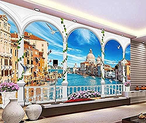 3D wallpaper muurschildering Venetië Blue Sky modern 3D wallpaper muurschildering wallpaper grijs muursticker grens muurdecoratie fotobehang 3d behang effect vlies wandfoto slaapkamer 430 cm × 300 cm.