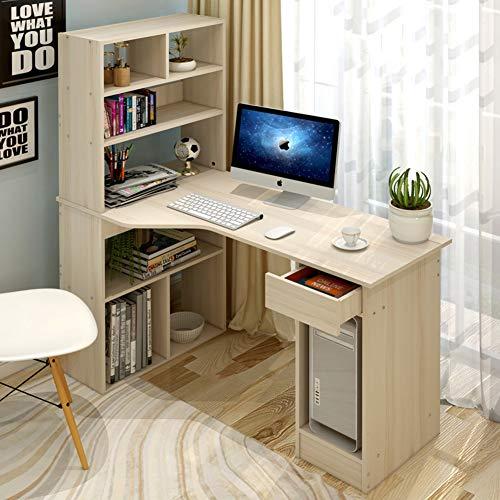 YQ WHJB Bureau D'ordinateur avec Étagères De Rangement,Bois Table Informatique avec Tiroirs,étudier Écriture Multifunctinal Workstation pour La Maison Office-e 120x60x71cm(47x24x28inch)
