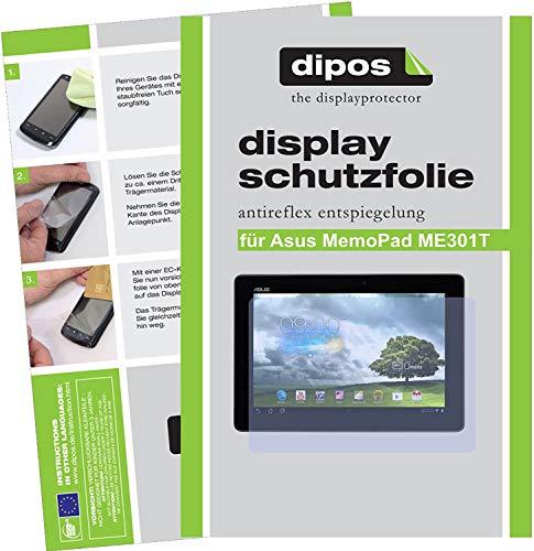 dipos I 2X Schutzfolie matt kompatibel mit Asus MeMo Pad Smart 10.1 ME301T Folie Bildschirmschutzfolie