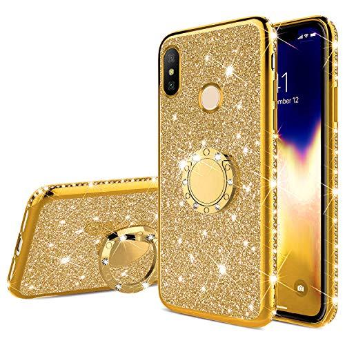 Surakey Funda compatible con Xiaomi Mi A2, con anillo de soporte de 360 grados, brillante, brillante, brillante, brillante, diamante, funda transparente de silicona TPU para Xiaomi Mi A2, color dorado