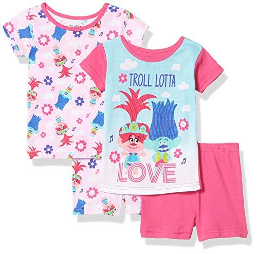 DreamWorks Girls' Trolls 4-Piece Cotton Pajama Set, Lotta Pink, 2T
