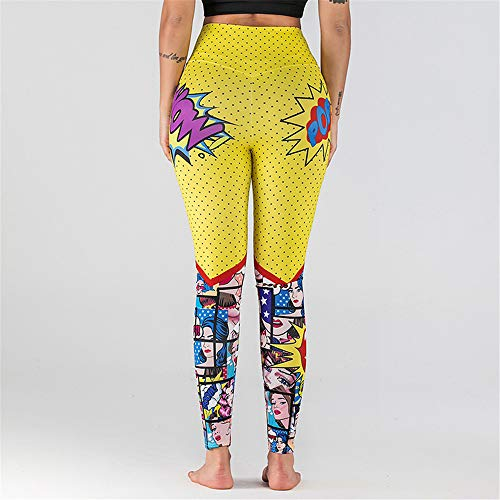 Koupany Damesmode Polyester Legging Potlood Broek Cartoon Print Yoga Legging Roze Trainingsbroek Letter Print Yoga Broek
