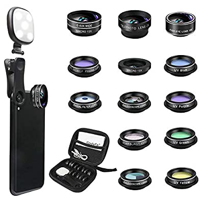 Godefa Phone Camera Lens Kit, 14 in 1 Lenses with Selfie Ring Light for iPhone Xs, Xr,8 7 6s Plus, Samsung and other Andriod Smartphone, Universal Clip on Wide angle+Macro+ Zoom Camera Lenses and More by Godefa