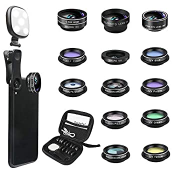 Godefa Phone Camera Lens Kit 14 in 1 Lenses with Selfie Ring Light for iPhone 12 11 Xs Xr,8 7 6s Plus Samsung and Other Andriod Smartphone Universal Clip on Wide Angle+Macro+ Zoom Camera Lenses