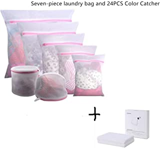 7Pcs Mesh Laundry Bags and 24Pcs Color Catcher,for Delicates with Premium Zipper, Travel Storage Organize Bag, Clothing Washing Bags for Laundry, Blouse, Bra, Hosiery, Stocking, Underwear, Lingerie