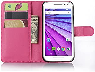 Nadakin Motorola Moto G3/Moto G 2015 Phone Case Premium Quality Leather Wallet Flip Stand Cover Pouch With Magnetic Clasp Card Holder for Motorola Moto G3/Moto G 2015 (Hot pink)