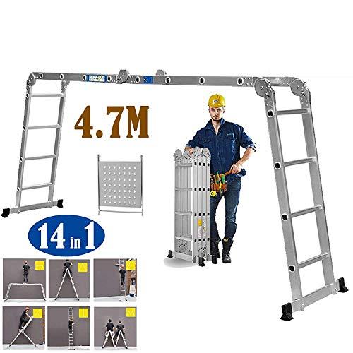 Multifunctionele aluminium ladder Heavy Duty Multi-Purpose uittrekladder met 1 gereedschap, maximale draaglast 150 kg voor binnen, antislip, stabiele blokkering.