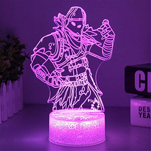 Night Light Touch Switch Table Desk 3D Optical Illusion Lamp Raven Battle Royale Bedside Lamp with Remote Control 16 Color Changing Xmas Halloween Birthday Gift for Child Baby Girl