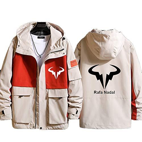 73HA73 Felpa da Uomo con Cappuccio e Zip Tennis Grand Slam Rafael Nadal Jacket Manica Lunga Confortevole Sweatshirt Giacca Coat (No Shirt),Orange,3XL(185-190cm)