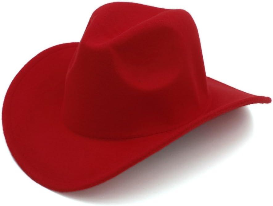 LiuliuBull Woven hat Winter Autumn Wool Men Women Fashion Felt Fedora Hat Western Cowboy Cowgirl Cap Jazz hat Sun Hat Toca Sombrero Cap Beach Sun Hat UPF 50+ (Color : Wine Red)