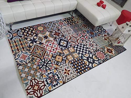 Stock ALFOMBRAS. Alfombra Baldosa Hidráulica Multicolor . Moderna y Elegante 140X200 Ideal para Salón.