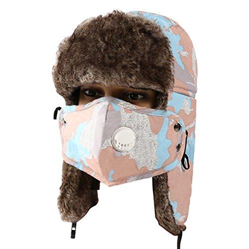 MOOKZZ Winter Trapper Fur Hat, Women Trooper Hats with Face Cover - Waterproof Ushanka Russian Hats, Windproof Bomber Cap