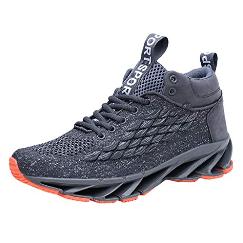 Sport Baseball Shoes -RQWEIN Fashion Knitted Outdoor Sneakers Lightweight Gym Athletic Shoe for Men Trail Workout Shoes(Gray,9.5
