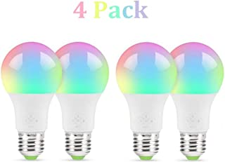 WiFi Smart LED Multi-Color Light Bulb Compatible with Alexa, Echo, Google Home and IFTTT [No Hub Required], Color Changing Bulb with App Control (4 Pack)