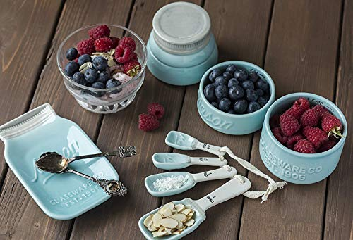 Attractive Style Vintage Aqua Blue Mason Jar Kitchenware Set 4 Measuring Cups, 4 Measuring Spoons and Spoon Rest