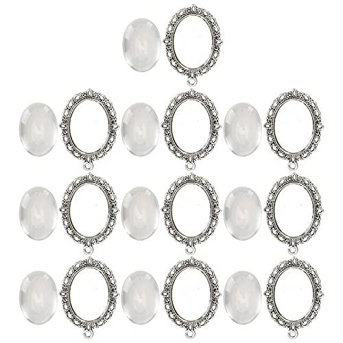 10 juegos de colgante de parche de vidrio transparente, colgante hecho a mano de bricolaje, bandejas ovaladas, cabujón de vidrio, azulejos de cúpula transparente para pulseras, pendientes, collar, acc