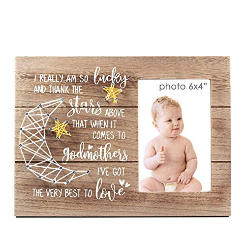 VILIGHT Godmother Gifts from Godchild - Rustic Picture Frame for Goddaughter and Godson - 4x6 Inches Photo