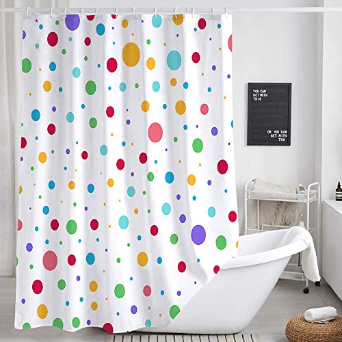 Kids Rainbow Shower Curtain for Bathroom, Colorful Geometric Cute Polka Dot Fabric Shower Curtains Set, White Modern Restroom Decor Accessories with Hooks 72X72Inches