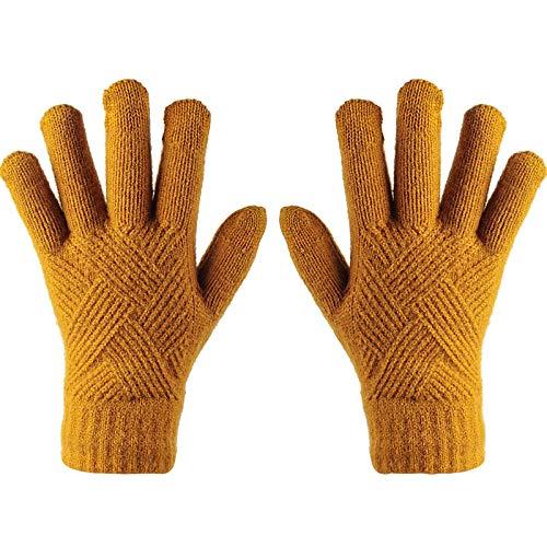 fenglei Damen Winter Touchscreen Handschuhe Winter Warm Handschuhe Stretch Strick Dicke Wollhandschuhe Damen Weich Handschuhe Geschenke für Frauen (Gelb)