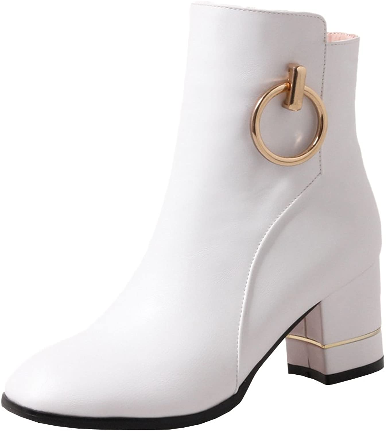 Agodor Womens Mid Chunky Heel Ankle Boots with Zip Classic Autumn Winter Metal shoes