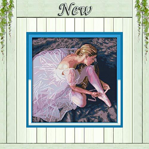 Ballerina Meisje Schoonheid Dans Schilderij Gemeld Print op Canvas 14CT 11CT Onafgewerkte DMC Cross Stitch kit Naaldwerk Set Borduurwerk 14CT printed