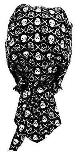 Bandana préformé serrage ajustable 100 % coton pour motard, paintball, foot et autres sports - noir têtes de mor - SKULL - crânes