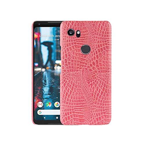 Best Shopper - Google Pixel 2 XL Crocodile Grain Hard PC+PU Leather Surface Back Cover Case - Pink