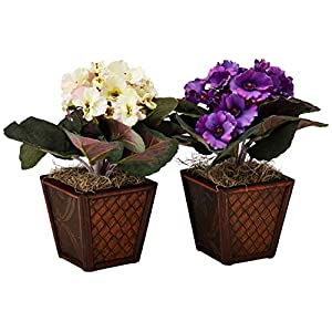 Nearly Natural 6685-S2 African Violet with Vase Decorative Silk Plant, Purple/Cream/Pink, Set of 2