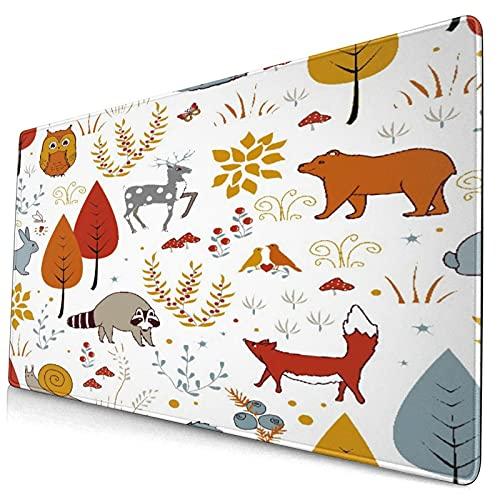 Nettes Mauspad ,Niedliche Pflanzen Vögel tragen Hirsch Waschbär Fü,Rechteckiges rutschfestes Gummi-Mauspad für den Desktop,Gamer-Schreibtischmatte,15,8