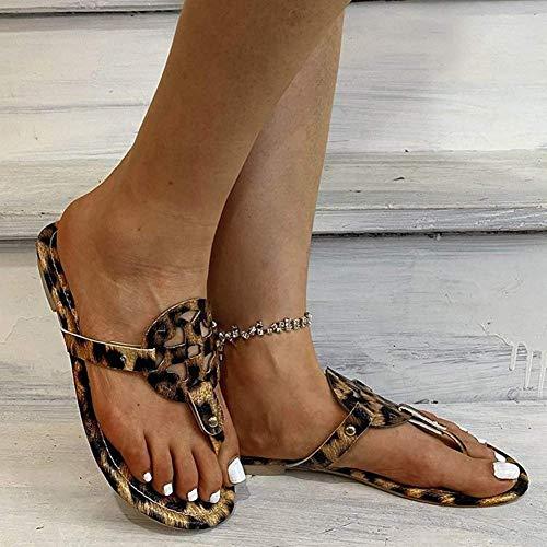 JFFFFWI Sandalias Planas para Mujer Zapatillas con Punta Abierta con Estampado de Leopardo para Mujer Resbalón de Verano con Diapositivas Mulas Chanclas Zapatos de Playa cómodos y sexys con Punta de
