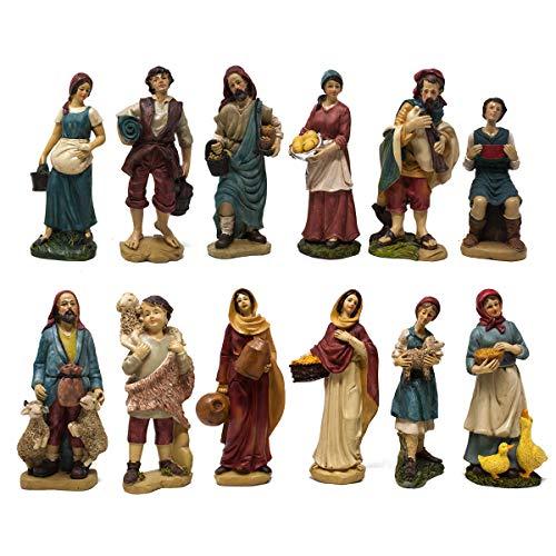 Joy Christmas Pastori in Resina 20 cm per Presepe Confezione 12 Personaggi - 41911