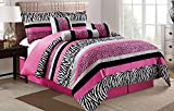 Grand Linen 7 Piece Oversize HOT Pink Black White Zebra Leopard Micro Fur Comforter Set Queen Size Bedding 94'X92'
