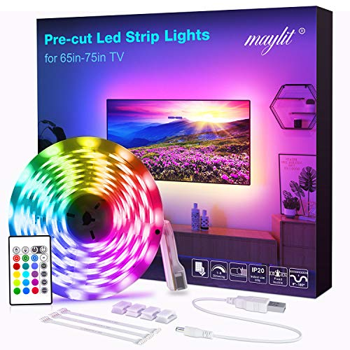 LED Strip Lights, Pre-Cut 14.3ft RGB LED Strip TV LED Backlight for 65-75in HDTV, 4PCS USB Powered TV Lights with Remote 16 Color Changing 5050 LEDs Bias Lighting for Home Theater
