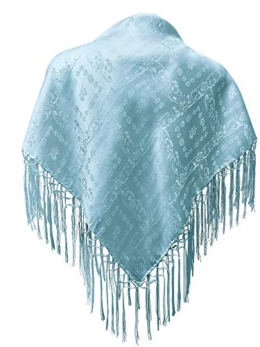 Seidentuch Dirndl-Trachtentuch Tuch hellblau 75x75cm Dirndltuch Seide Fransentuch Tracht Trachtenseidentuch hell-blau himmelblau mit Fransen Schultertuch Halstuch blau silk clouth