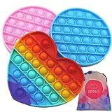 KPRICE - Pop-it Barato Corazon - Push Pop Bubble - popit antiestres niños Cube - Poppit Fidget Toys Set - Bolsa de transporte - Pack 3 - Juguete Sensorial Antiestrés - Multicolor - popi Relajante