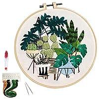 刺繍スターターキット、パターン、クロスステッチキット、プラントパターンの刺繍布を含む、竹刺繍フープ、カラースレッド、ツールキット初心者用。
