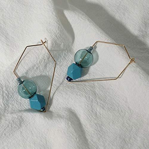 DFDLNL Pendientes de aro con Forma de Bola de Cristal para Mujer Pendientes Elegantes de Burbuja de ensueño BrincosAzul