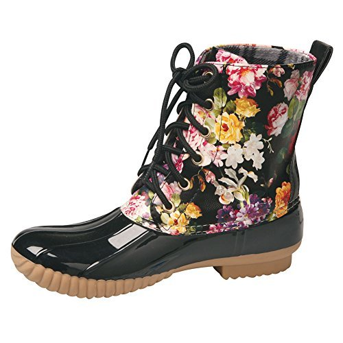 AVANTI Women's Rosetta Spring Flowers Mid-Calf Duck Rain Boots - Size 7