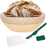 Perezy 10 Pulgada Bread Proofing Basket - Banneton Proofing Basket Cloth Liner Masa Rascador Bread Lame - Sourdough Basket Set para Panaderos Profesionales y Caseros Pan Artesanal