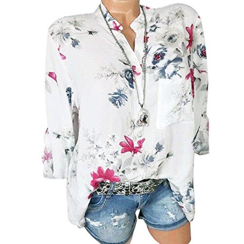 VJGOAL Damen Pullover, Damen Übergröße Bluse Mode Chiffon Drapierte Bluse Blumen Lange Tunikabluse Mode Trend Reifen Bluse(Weiß,42)