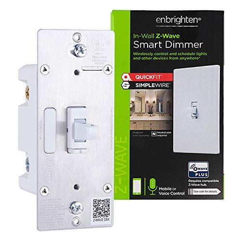 Enbrighten Z-Wave Smart Toggle Light Dimmer with QuickFit and SimpleWire, 3-Way Ready, Works with Alexa, Google Assistant, ZWave Hub Required, Repeater/Range Extender, White & Light Almond, 46203