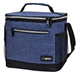 OPUX Insulated Large Lunch Bag, Men Women | Meal Prep Lunch Box for Adult, Kids | Soft Leakproof Lunch Pail Cooler Bag with Shoulder Strap for Work, School, Beach | Fits 18 Cans (Heather Navy)