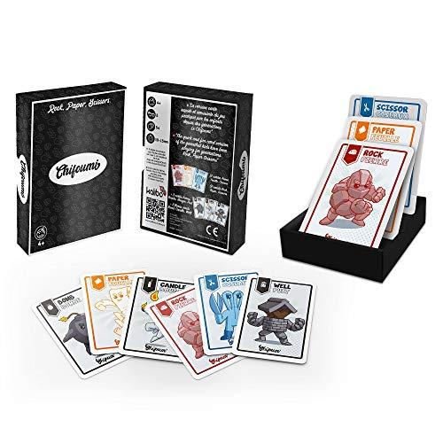 Chifoumi - Juego de 54 cartas para niños (versión Super Heros) - Juego Piedra, Papel o Tijera para jugar en duelo o con varios amigos o familia - El juego favorito de los niños